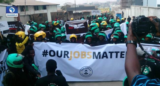 Okada riders protest in Lagos 4