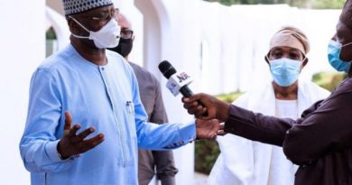 Mustapha speaks with the media in Aso Rock on Sunday e1590968446939