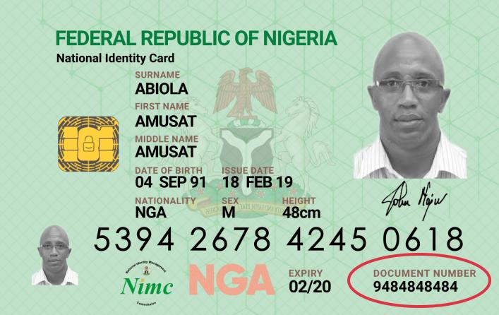National Identity Card NIMC