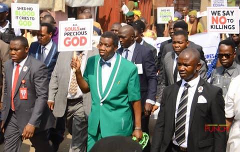 Pastor Adeboye leads protest11