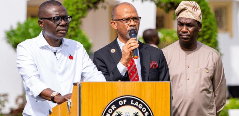 Deputy Governor of Lagos State Femi Hamzat Governor Babajide Sanwo Olu and Commissioner for Heath Prof. Akin Abayomi