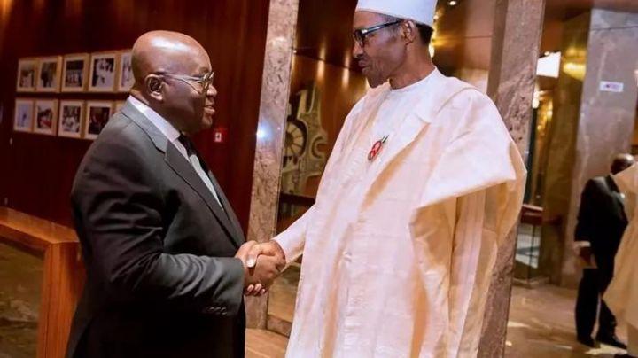 Ghana President Nana Akufo Addo and President Muhammadu Buhari of Nigeria