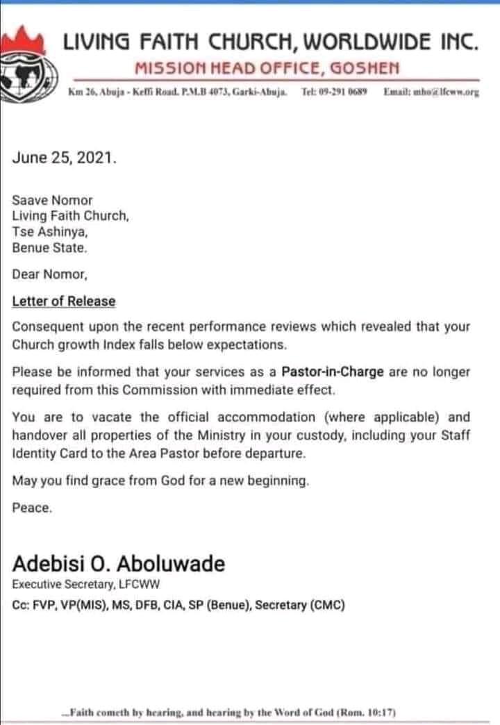 The Winners Chapel letter