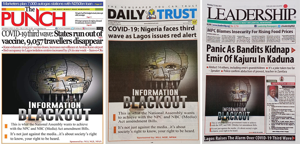 Front page of Nigerian Newspapers on Monday July 12 2021